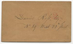 US Stampless Cover New York February 25 2c Rate