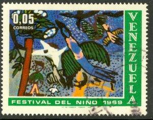 VENEZUELA 1969 5c CHILDREN'S DAY Art Issue Sc 954 VFU