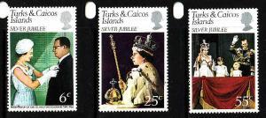 Turks & Caicos-Sc#321-3-unused NH set-QEII-25th Reign-1977-