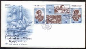 Palau FDC 1983 Capt Wilson Voyage SC# 37-40 Used