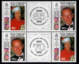 Solomon Islands Scott 689A MNH** 1991 QE2 & Phillib Bdays with labels SCV $9