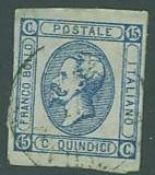 Italy SC# 23 King Victor Emmanuel, 15c, type ll, Cancelled