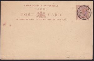 LAGOS NIGERIA 1891 1½d postcard cto Lagos cds..............................69680