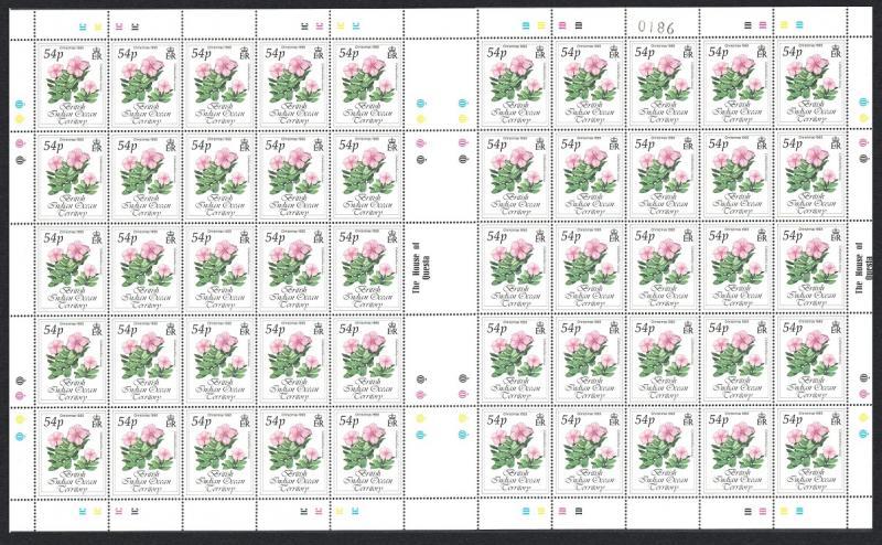 BIOT Christmas Flowers Roses 1v 54p Full Sheet SG#144 CV£80+ SALE BELOW FACE
