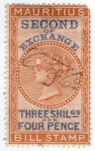 (I.B) Mauritius Revenue : Bill of Exchange 3/4d (Second)