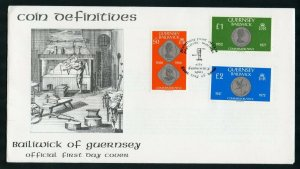 GUERNSEY 1979/80 COINS DEFINITIVES ON TWO FIRS DAY COVERS AS SHOWN