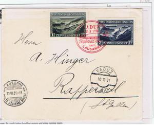 LIECHTENSTEIN 1931 VADUZ-LAUSANNE FLIGHT COVER