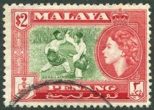 PENANG-1957 $2 Bronze-Green & Scarlet Sg 53 FINE USED V42835