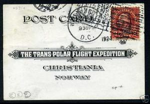 595 USED Stamp ON 1925 TRANS POLAR EXPO CARD With PF CERT (Stock 595-pf1)