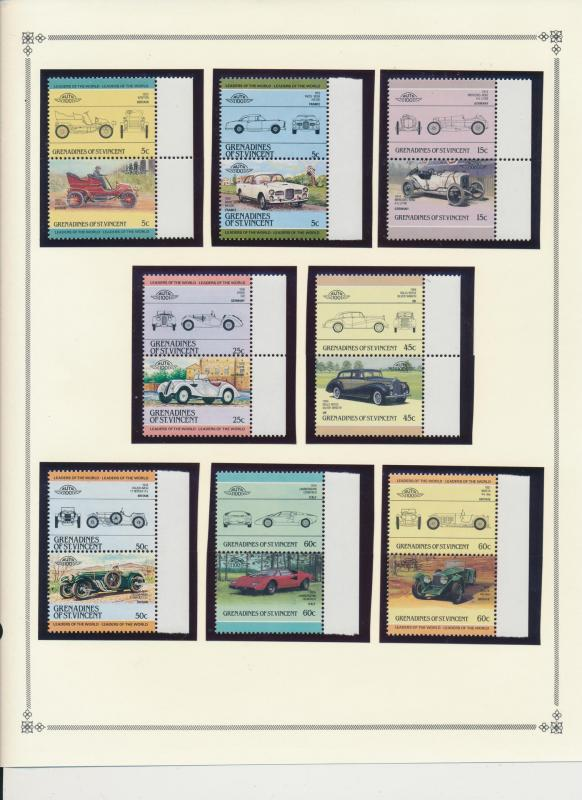 Grenadines of St. Vincent Stamp Set Scott #441-54, Pairs, Classic Autos, MNH ...