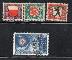 Switzerland Sc B45-48 1928  Pro Juventute  Coat of Arms stamp set used