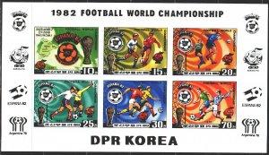 North Korea. 1981. Small sheet 2099V-2103V. Football, World Cup in Spain. MNH.