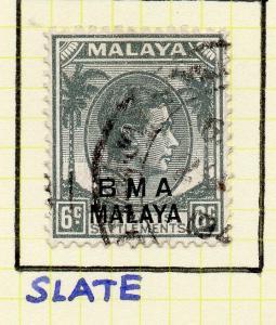 Malaya Straights Settlements 1945 Early Shade of Used 6c. BMA Optd 307987