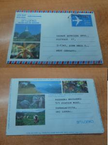 Sri Lanka 3.50 A/M to Germany, nice pictures! with message (107bed)