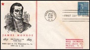 US 810 James Monroe Linprint Typed FDC
