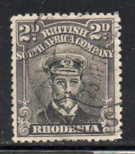 Rhodesia Sc 122 1913 2 violet black & black George V  stamp used