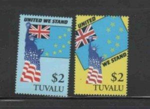 TUVALU #874-875 2002 UNITED WE STAND MINT VF NH O.G