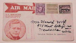 GUATEMALA ROESSLER CACHET LINDBERGH 7 AUG 1929 B/S MEXICO DF