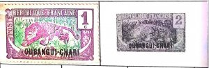 A) 1922, UBANGI-SHARI, CENTRAL AFRICAN REPUBLIC, LEOPARD, STAMPS FROM THE MIDDLE