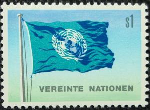 UN Vienna #2, MNH, Single, UN Flag, SCV $.20 L10