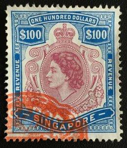 MALAYA SINGAPORE QEII REVENUE $100 USED M3253
