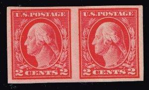 US STAMP #409 1912 2c Washington SL Wmrk imperf mh/og pair