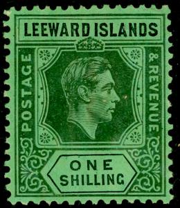 LEEWARD ISLANDS SG110ba, 1s black/emerald, M MINT. Cat £24.
