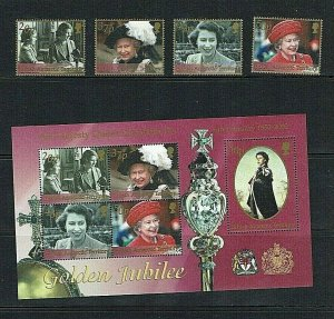 British Antarctic Territory: 2002  Queen Elizabeth, Golden Jubilee  MNH set