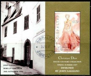 GIBRALTAR Sc#739 1997 Dior Fashion Designs Souvenir Sheet Complete Used