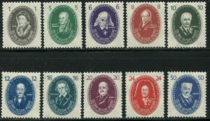 GERMANY DDR GDR Sc#58-67 1950 Scientists Complete Set OG Mint LH
