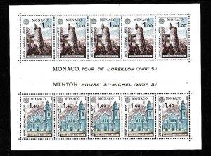Monaco-Sc #1068-Unused NH sheet-Europa-Helmet Tower-St Michael's Church-1977-