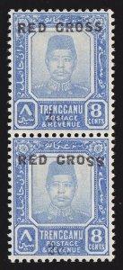 TRENGGANU MALAYA 1917 Red Cross 2c on 8c SE-TENANT PAIR ERROR SS INVERTED