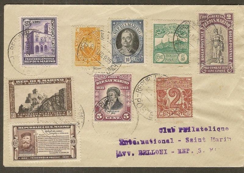 San Marino 1935 Cover to Philatelic Club