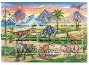 Sierra Leone MNH S/S Colorful Dinosaurs 6 Stamps Must See!!!!!!