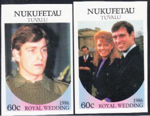 Tuvalu - Nukufetau #58-59 MNH Imperf Royal Wedding 1986