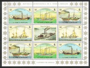 Sao Tome Ships Steamers Sheetlet of 8v SC#755