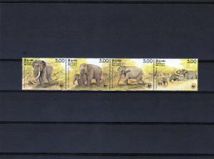 SRI LANKA 1986 WWF Ceylonese Elephants Strip (4) Perforated mnh.vf Scott#803