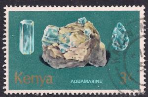 Kenya 1977 QE2 3/- Minerals Aquamarine used stamp  ( C1354 )