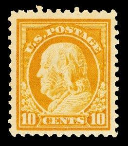 Scott 510 1917 10c Franklin Mint VF LH Light Gum Bend Cat $15