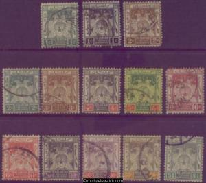 1921-28 Malaya Kelantan Postage & Revenue, set of 13, SG 14-23 MH