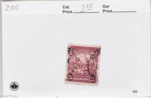 1938 Barbados #201 Θ used VF 2s6p  Seahorses, King & trident postage stamp