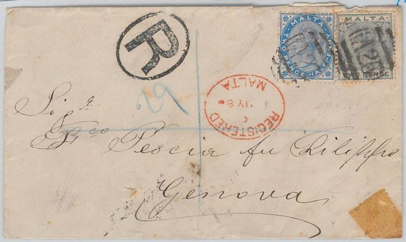 51894 - MALTA -  POSTAL HISTORY - REGISTERED COVER to ITALY 1886