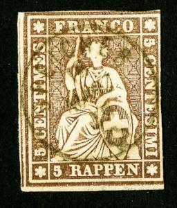 Switzerland Stamps # 25 Superb 4 Margins Copy
