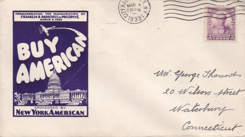 United States 1933 Franklin D. Roosevelt March 4 1933 Inauguration Cover