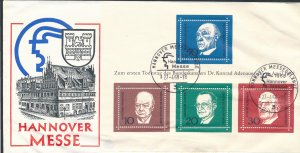 Germany 1968 Dr Konrad Adenauer Hannover Messe Commemoration Stamp Sheet Cover