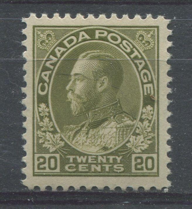 Canada #119 20c Grey Olive 1911-27 Admiral Issue Dry Ptg. No Mesh VF-80 OG