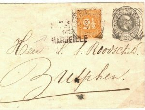 DUTCH EAST INDIES Cover Soerbaya? Uprated Stationery Netherlands 1894 SQ13