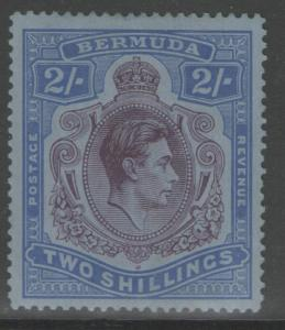 BERMUDA SG116b 1941 2/= DEEP PURPLE & ULTRAMARINE/GREY-BLUE p14¼ MTD MINT