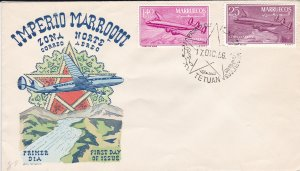 Morocco - Northern Zone # C1-2, Airplane, First Day Cover