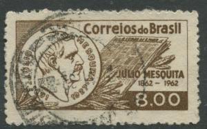 Brazil - Scott 942 - Julio Mesquita - 1962 - Used- Single 8cr Stamp